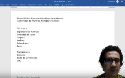Algunos términos de sistemas informáticos relacionados con (Explorador de Archivos, Navegadores Web)